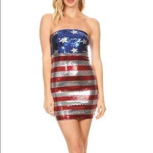 American flag sequin strapless mini dress